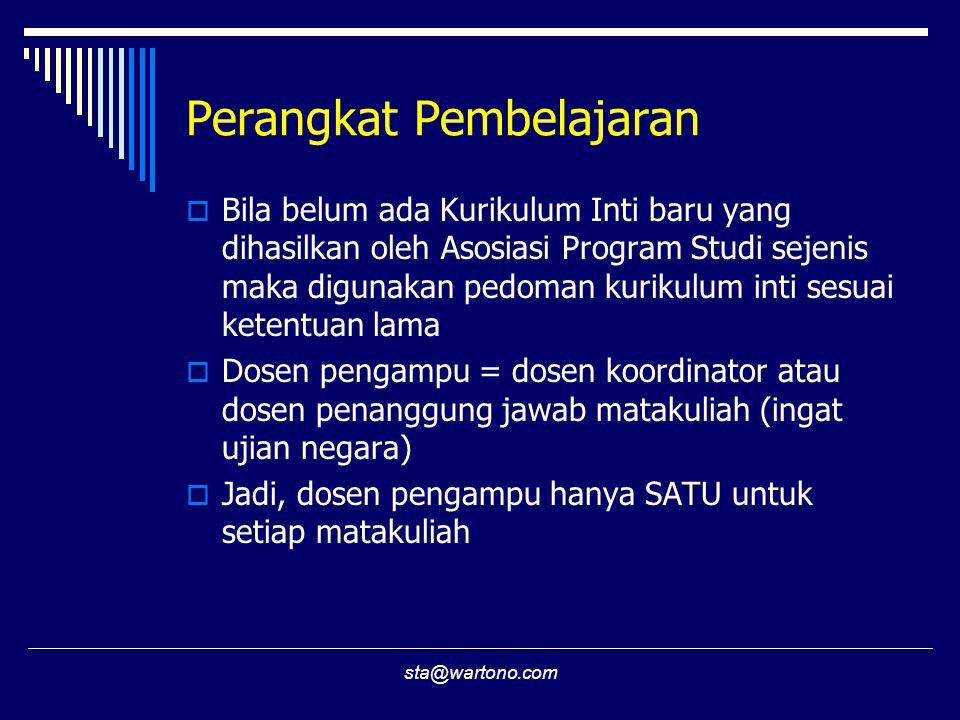 sta@wartono.com Perangkat Pembelajaran  Bila belum ada Kurikulum Inti baru yang dihasilkan oleh Asosiasi Program Studi sejenis maka digunakan pedoman