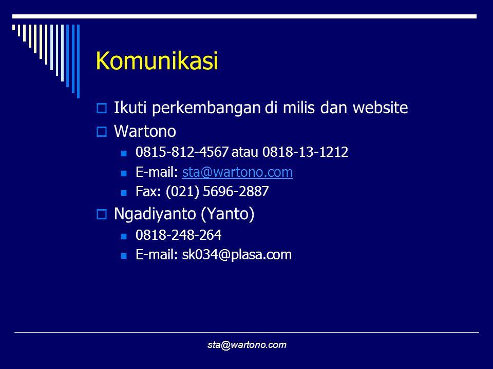 sta@wartono.com Komunikasi  Ikuti perkembangan di milis dan website  Wartono 0815-812-4567 atau 0818-13-1212 E-mail: sta@wartono.comsta@wartono.com Fax: (021) 5696-2887  Ngadiyanto (Yanto) 0818-248-264 E-mail: sk034@plasa.com
