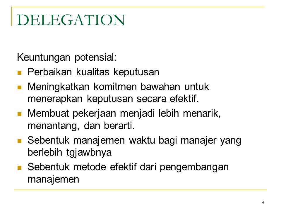 5 DELEGATION Reasons for lack of delegation: 1.Confidential information 2.
