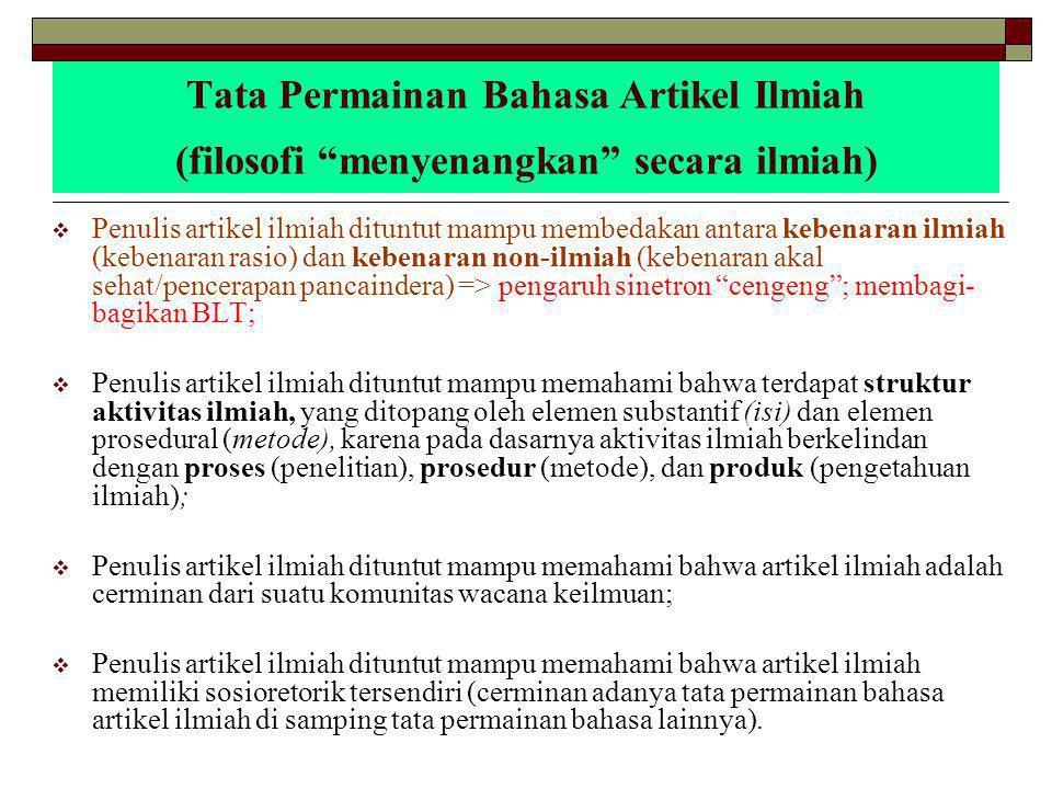 Tata Permainan Bahasa Artikel Ilmiah (konkretisasi menyenangkan secara ilmiah) 1.