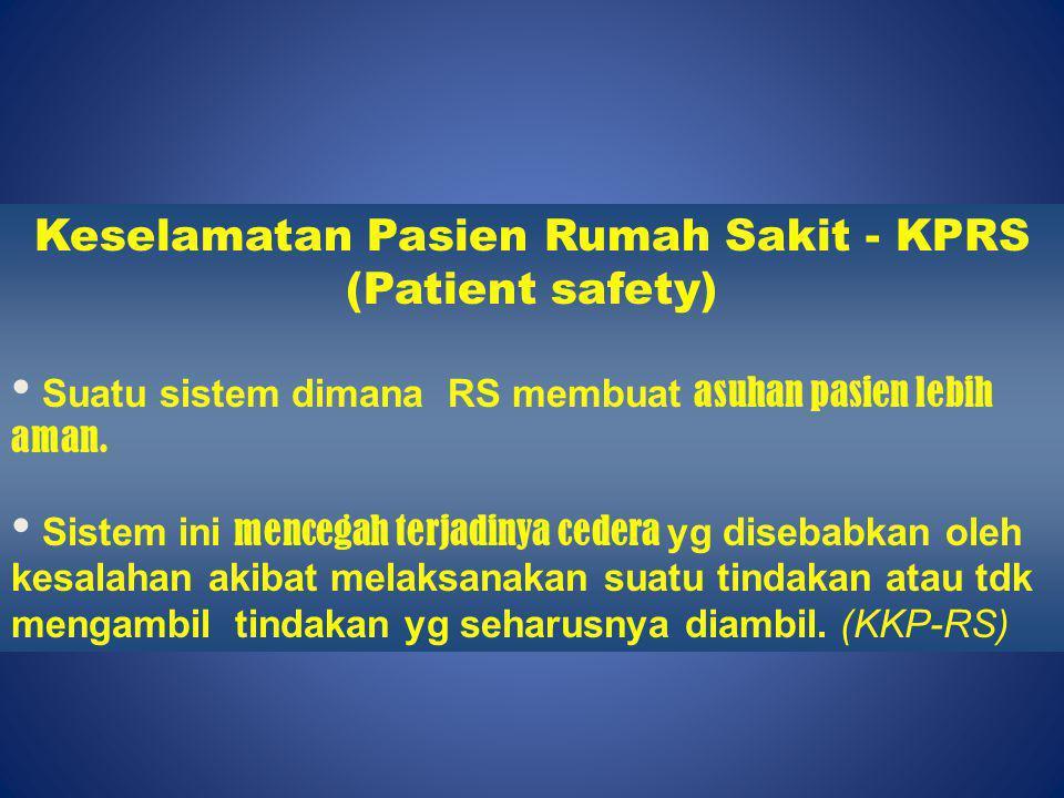 Keselamatan Pasien Rumah Sakit - KPRS (Patient safety) Suatu sistem dimana RS membuat asuhan pasien lebih aman. Sistem ini mencegah terjadinya cedera