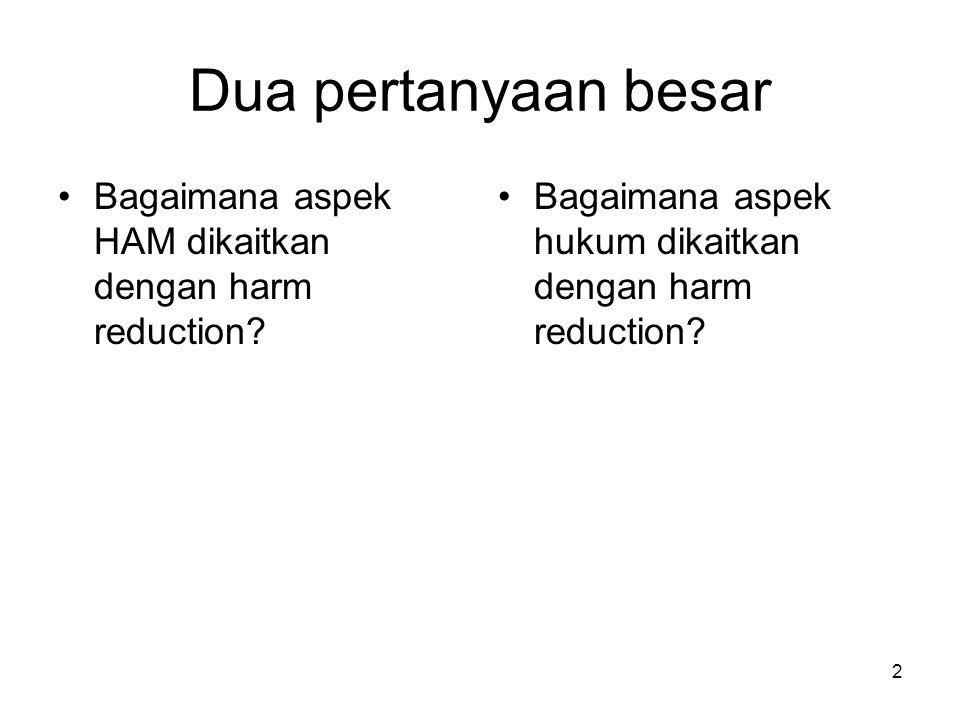 2 Dua pertanyaan besar Bagaimana aspek HAM dikaitkan dengan harm reduction.