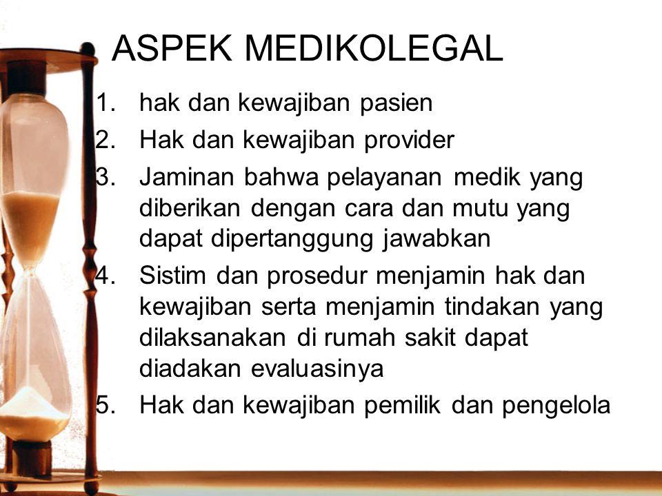 ASPEK MEDIKOLEGAL 1.hak dan kewajiban pasien 2.Hak dan kewajiban provider 3.Jaminan bahwa pelayanan medik yang diberikan dengan cara dan mutu yang dap