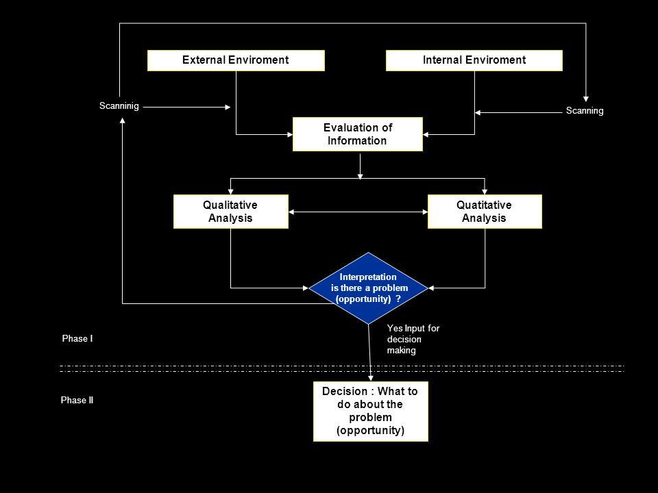External EnviromentInternal Enviroment Evaluation of Information Qualitative Analysis Quatitative Analysis Interpretation is there a problem (opportun