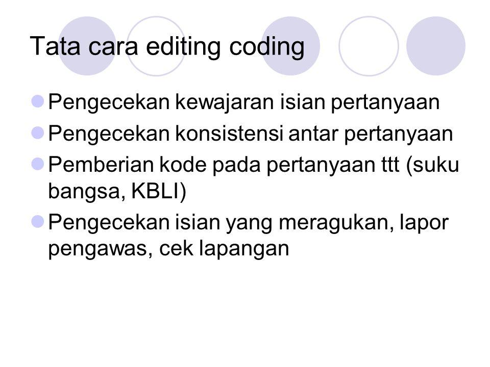 Tata cara editing coding Pengecekan kewajaran isian pertanyaan Pengecekan konsistensi antar pertanyaan Pemberian kode pada pertanyaan ttt (suku bangsa