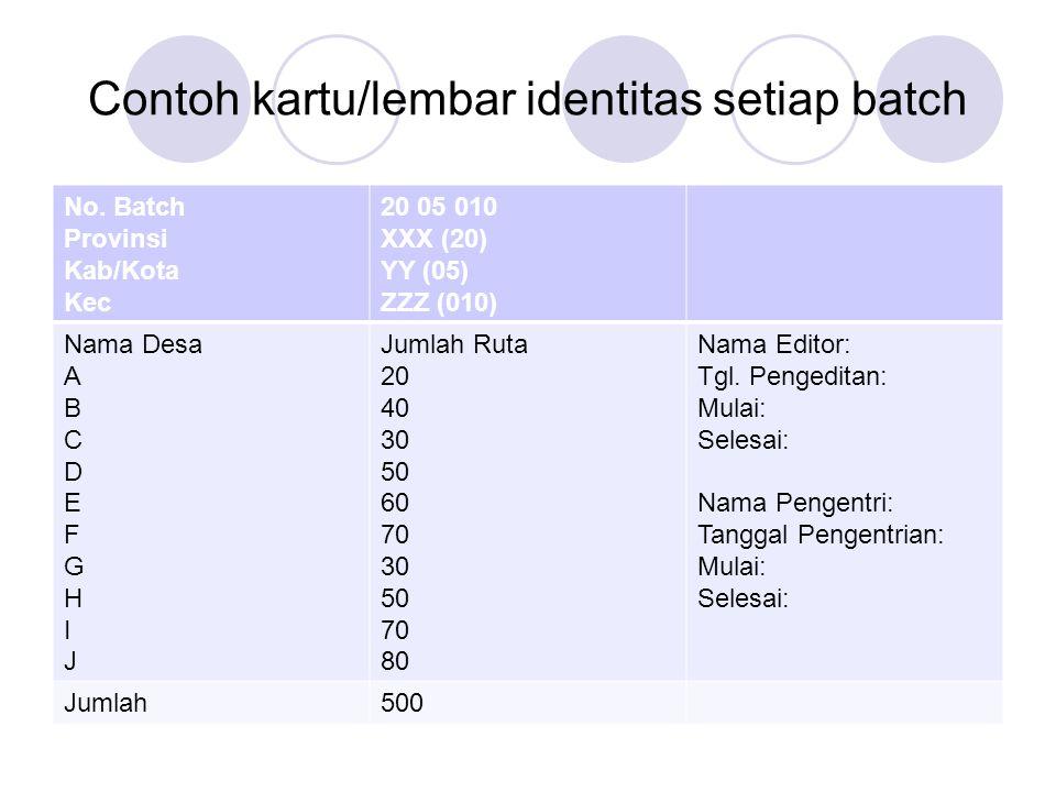 Contoh kartu/lembar identitas setiap batch No. Batch Provinsi Kab/Kota Kec 20 05 010 XXX (20) YY (05) ZZZ (010) Nama Desa A B C D E F G H I J Jumlah R