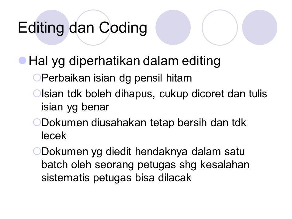 Tata cara editing coding Pengecekan kewajaran isian pertanyaan Pengecekan konsistensi antar pertanyaan Pemberian kode pada pertanyaan ttt (suku bangsa, KBLI) Pengecekan isian yang meragukan, lapor pengawas, cek lapangan