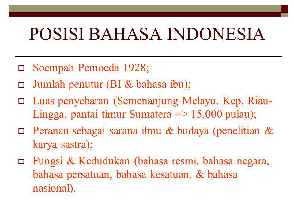 POSISI BAHASA INDONESIA  Soempah Pemoeda 1928;  Jumlah penutur (BI & bahasa ibu);  Luas penyebaran (Semenanjung Melayu, Kep.