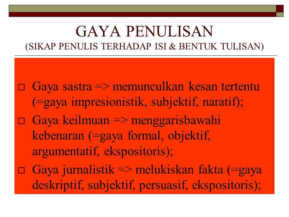 GAYA PENULISAN (SIKAP PENULIS TERHADAP ISI & BENTUK TULISAN)  Gaya sastra => memunculkan kesan tertentu (=gaya impresionistik, subjektif, naratif);  Gaya keilmuan => menggarisbawahi kebenaran (=gaya formal, objektif, argumentatif, ekspositoris);  Gaya jurnalistik => melukiskan fakta (=gaya deskriptif, subjektif, persuasif, ekspositoris);