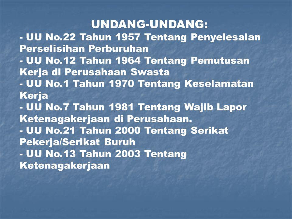 SUMBER HUKUM PERBURUHAN : 1.UNDANG-UNDANG 2. PERATURAN LAIN 3.