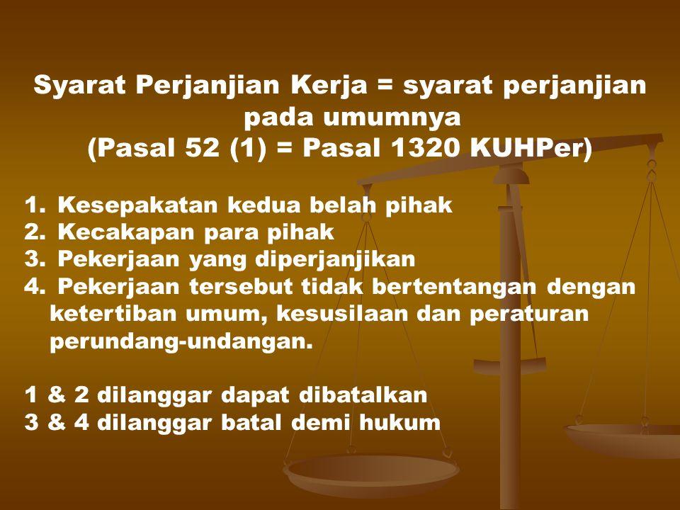 Syarat sahnya perjanjian (pasal 1320 KUHPer): 1.Kesepakatan 2.