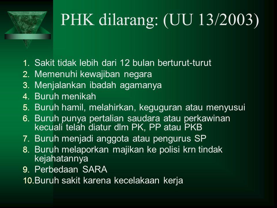 Ada 4 jenis PHK:  PHK oleh majikan/pengusaha  PHK oleh buruh/pekerja  PHK putus demi hukum  PHK oleh lembaga peradilan