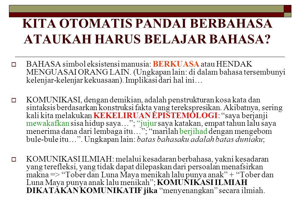 KITA OTOMATIS PANDAI BERBAHASA ATAUKAH HARUS BELAJAR BAHASA.