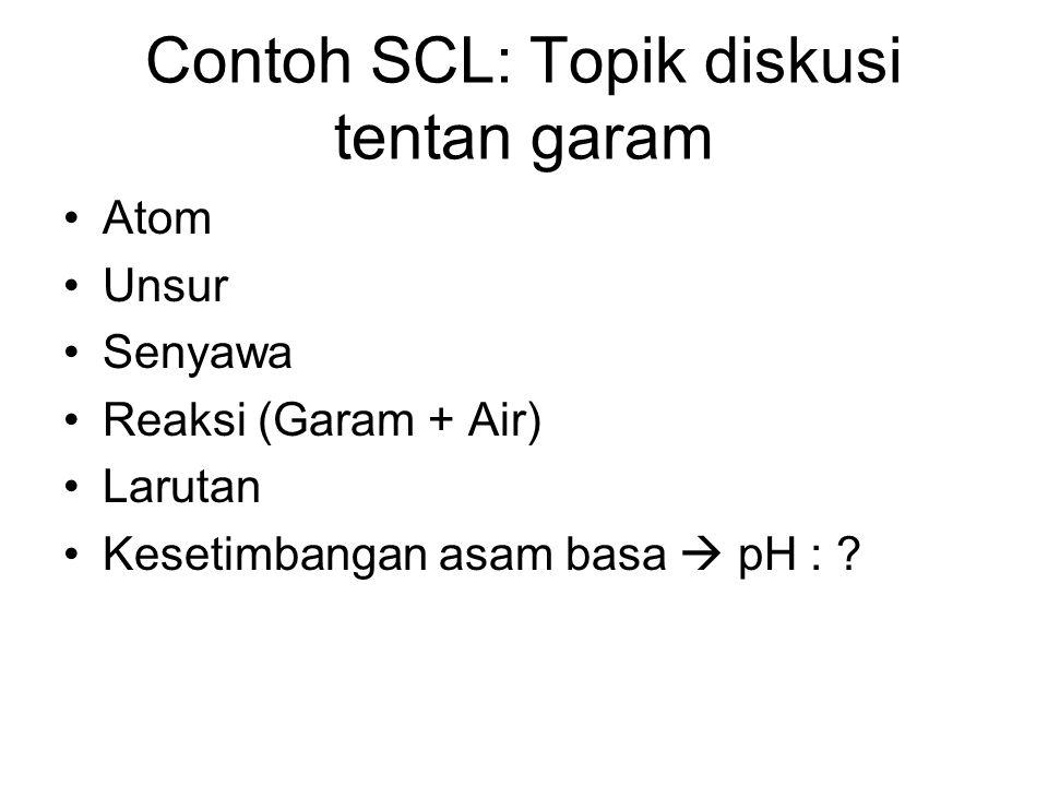 Contoh SCL: Topik diskusi tentan garam Atom Unsur Senyawa Reaksi (Garam + Air) Larutan Kesetimbangan asam basa  pH : ?