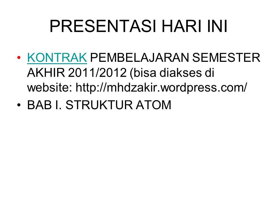 PRESENTASI HARI INI KONTRAK PEMBELAJARAN SEMESTER AKHIR 2011/2012 (bisa diakses di website: http://mhdzakir.wordpress.com/KONTRAK BAB I. STRUKTUR ATOM
