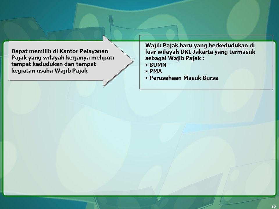 17 Wajib Pajak baru yang berkedudukan di luar wilayah DKI Jakarta yang termasuk sebagai Wajib Pajak : BUMN PMA Perusahaan Masuk Bursa Dapat memilih di