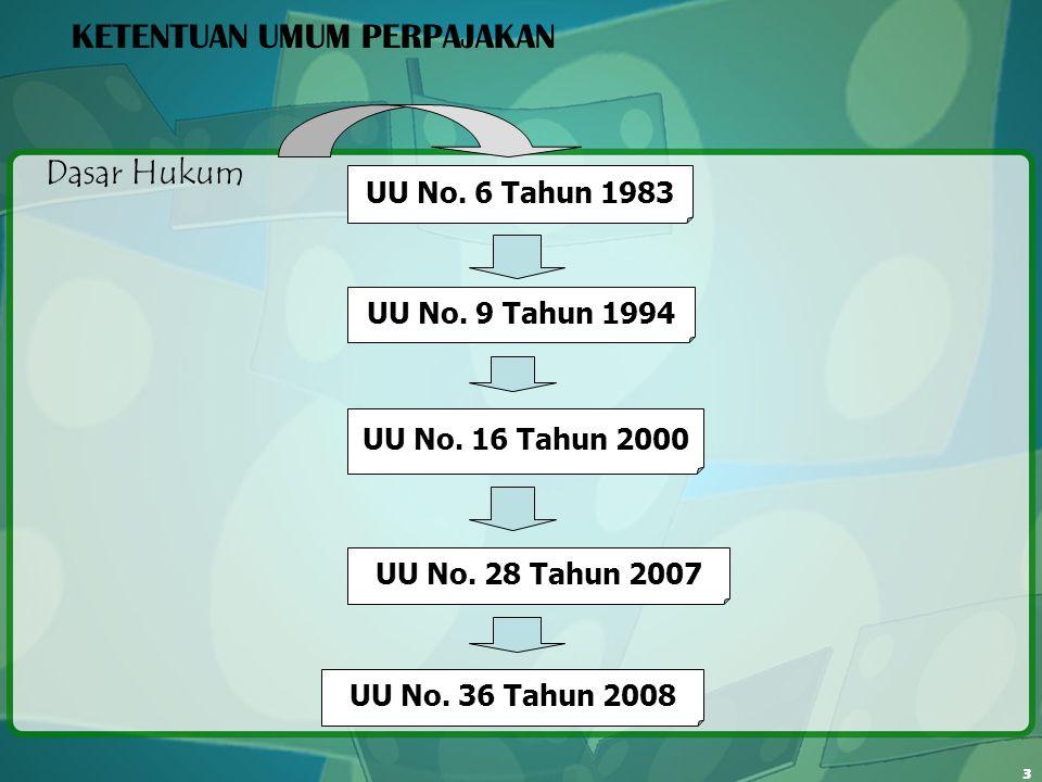 3 KETENTUAN UMUM PERPAJAKAN Dasar Hukum UU No. 6 Tahun 1983 UU No. 9 Tahun 1994 UU No. 16 Tahun 2000 UU No. 28 Tahun 2007 UU No. 36 Tahun 2008