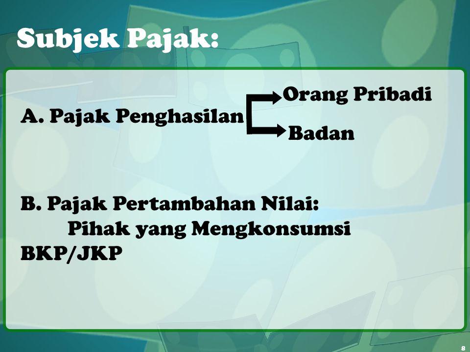 8 Subjek Pajak: A. Pajak Penghasilan Orang Pribadi Badan B. Pajak Pertambahan Nilai: Pihak yang Mengkonsumsi BKP/JKP
