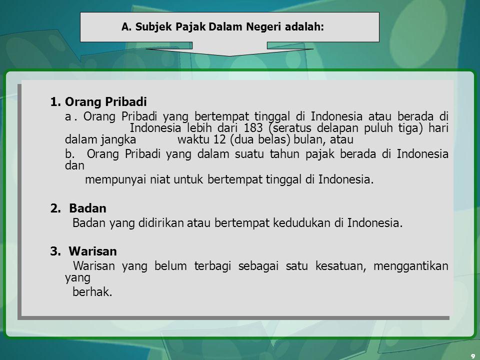 9 A. Subjek Pajak Dalam Negeri adalah: 1. Orang Pribadi a. Orang Pribadi yang bertempat tinggal di Indonesia atau berada di Indonesia lebih dari 183 (