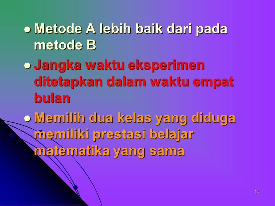 11 Mana diantara dua metode yang dapat memberikan prestasi matematika lebih baik Mana diantara dua metode yang dapat memberikan prestasi matematika le