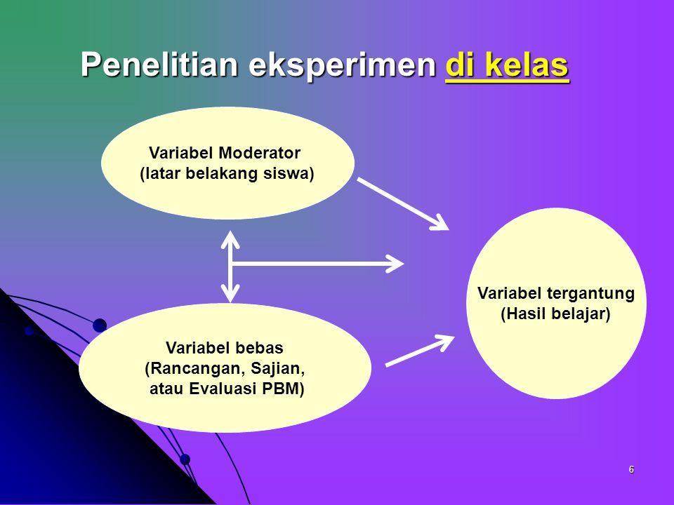 6 Penelitian eksperimen di kelas Variabel tergantung (Hasil belajar) Variabel Moderator (latar belakang siswa) Variabel bebas (Rancangan, Sajian, atau Evaluasi PBM)