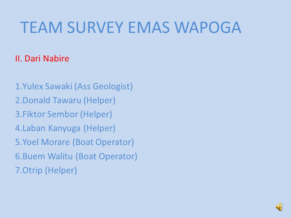 TEAM SURVEY EMAS WAPOGA II.