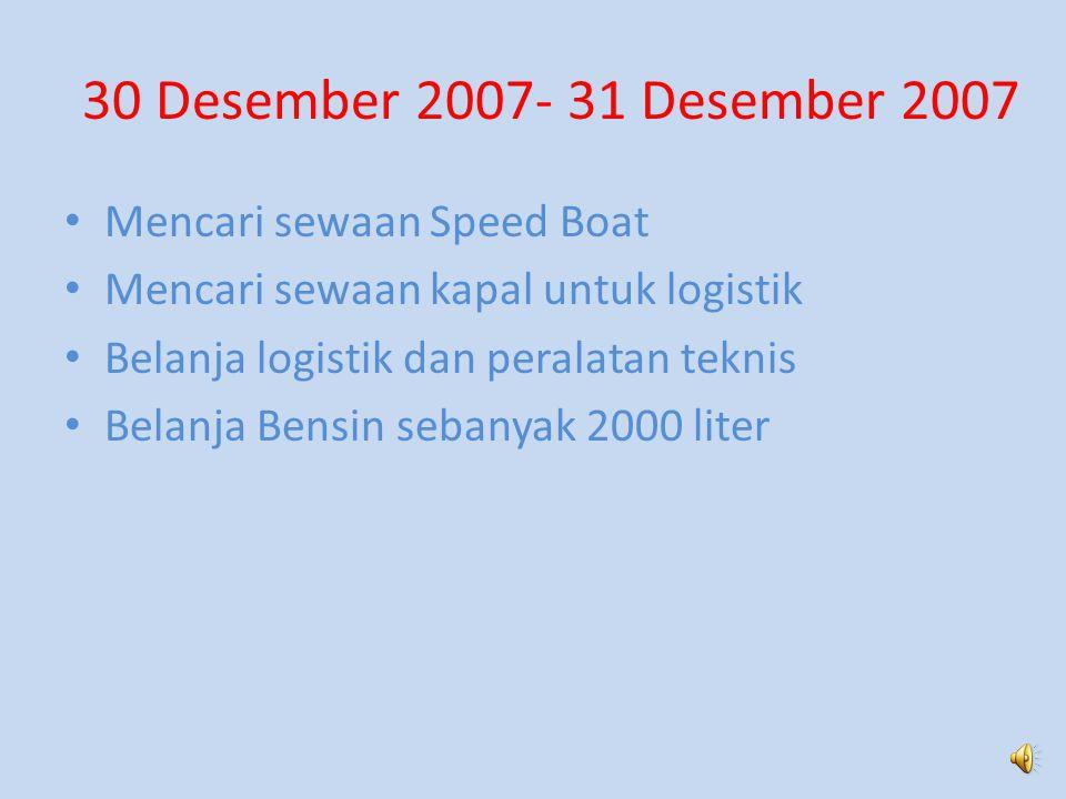 30 Desember 2007- 31 Desember 2007 Mencari sewaan Speed Boat Mencari sewaan kapal untuk logistik Belanja logistik dan peralatan teknis Belanja Bensin sebanyak 2000 liter