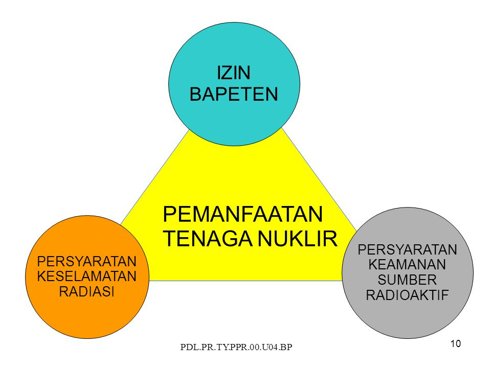 PDL.PR.TY.PPR.00.U04.BP 10 PEMANFAATAN TENAGA NUKLIR PERSYARATAN KEAMANAN SUMBER RADIOAKTIF PERSYARATAN KESELAMATAN RADIASI IZIN BAPETEN