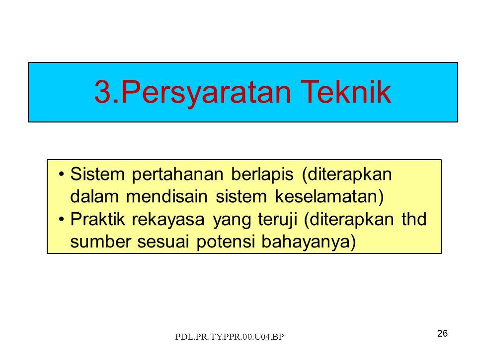 PDL.PR.TY.PPR.00.U04.BP 26 3.Persyaratan Teknik Sistem pertahanan berlapis (diterapkan dalam mendisain sistem keselamatan) Praktik rekayasa yang teruji (diterapkan thd sumber sesuai potensi bahayanya)