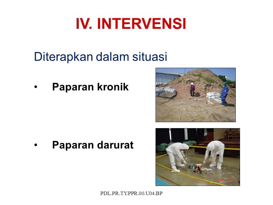 PDL.PR.TY.PPR.00.U04.BP IV. INTERVENSI Diterapkan dalam situasi Paparan kronik Paparan darurat