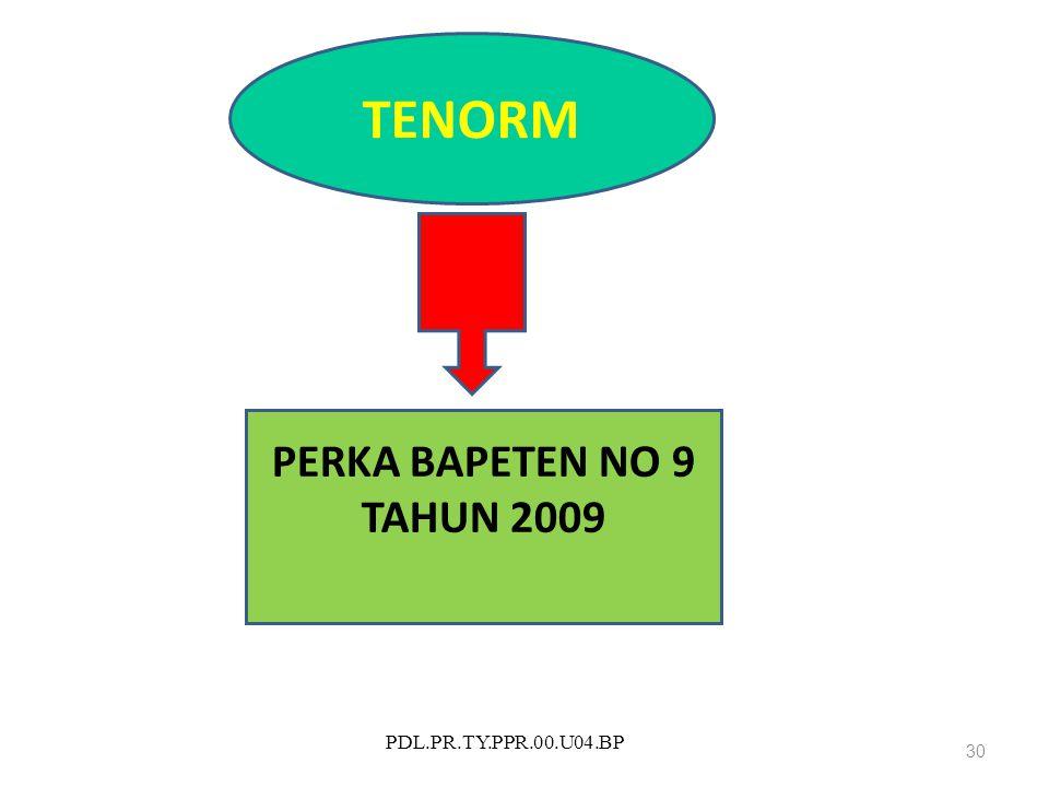 PDL.PR.TY.PPR.00.U04.BP 30 TENORM PERKA BAPETEN NO 9 TAHUN 2009