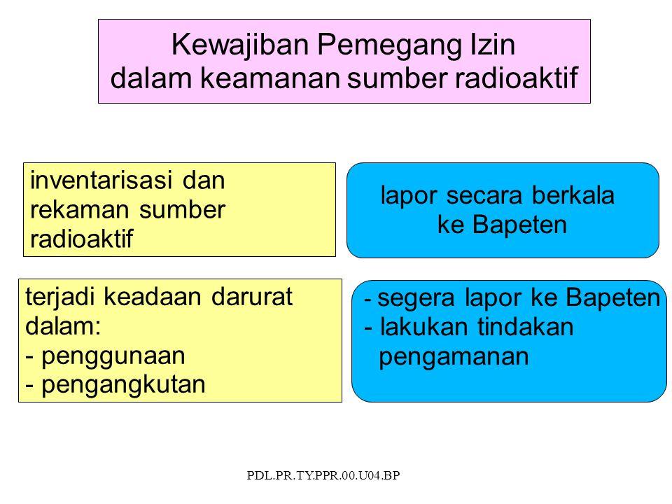 PDL.PR.TY.PPR.00.U04.BP Kewajiban Pemegang Izin dalam keamanan sumber radioaktif inventarisasi dan rekaman sumber radioaktif terjadi keadaan darurat d