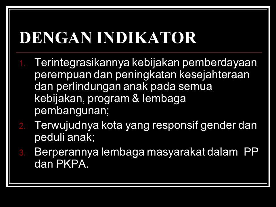 TUJUAN PEMBERDAYAAN PEREMPUAN & PERLINDUNGAN ANAK 1. Meningkatkan status, posisi dan kondisi perempuan agar mencapai kemajuan yang setara dengan laki-