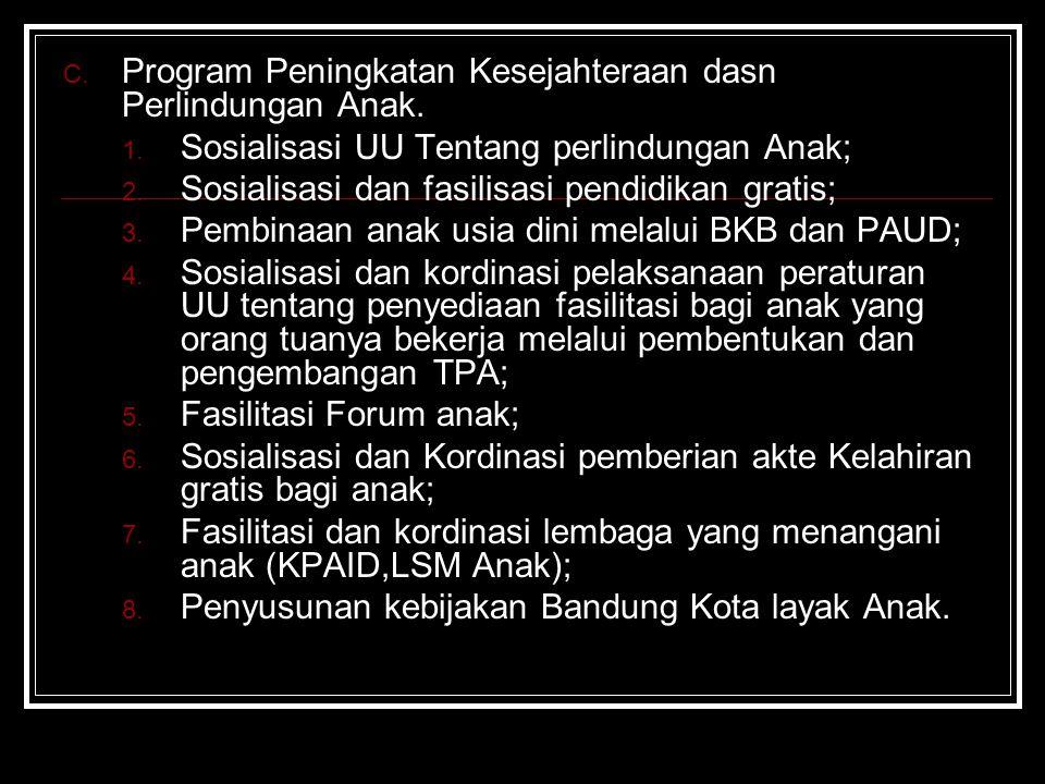 B. Penghapusan Tindak Kekerasan 1. Sosialisasi masalah tindak kekerasan terhadap perempuan dan UU KDRT; 2. Penyusunan sistim pencatatan dan pelaporan