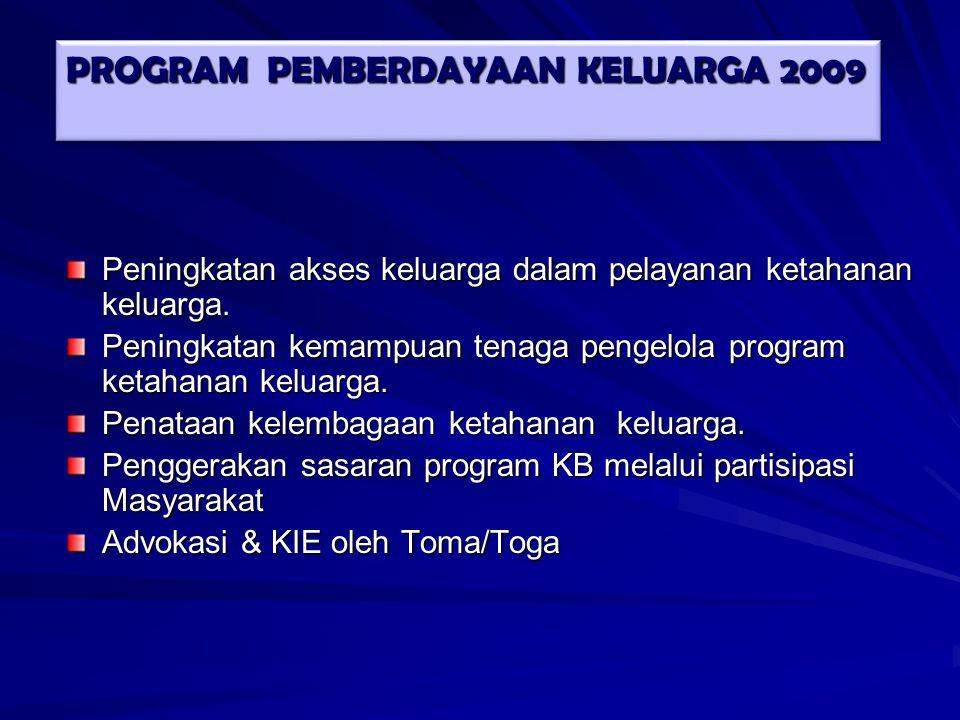 Program 2009 Program 2009 a.Peningkatan komitmen terhadap program KRR-PUP; b.Peningkatan akses dan kualitas pengelolaan PIK-KRR; c.Peningkatan jaringan kemitraan program KRR-PUP