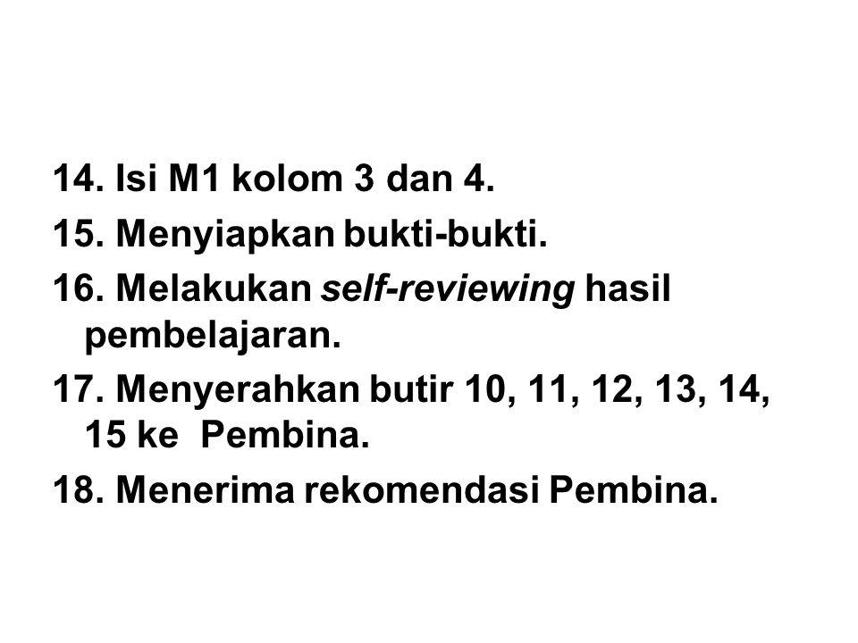 14.Isi M1 kolom 3 dan 4. 15. Menyiapkan bukti-bukti.