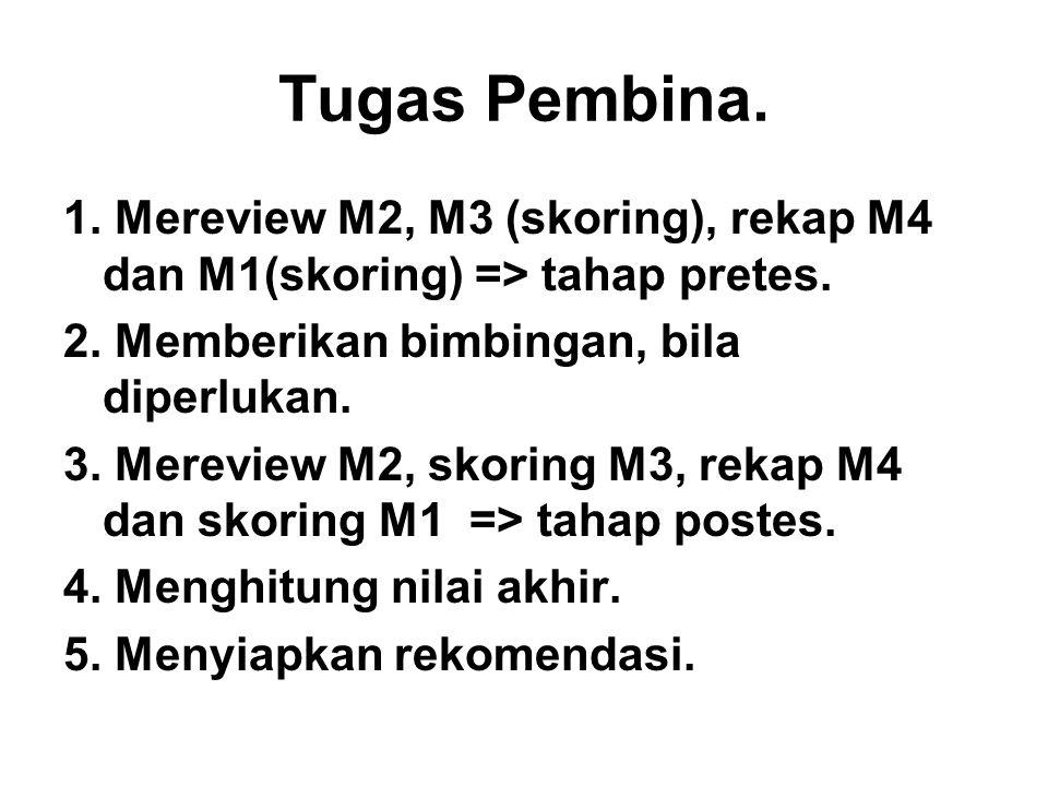 Tugas Pembina. 1. Mereview M2, M3 (skoring), rekap M4 dan M1(skoring) => tahap pretes.