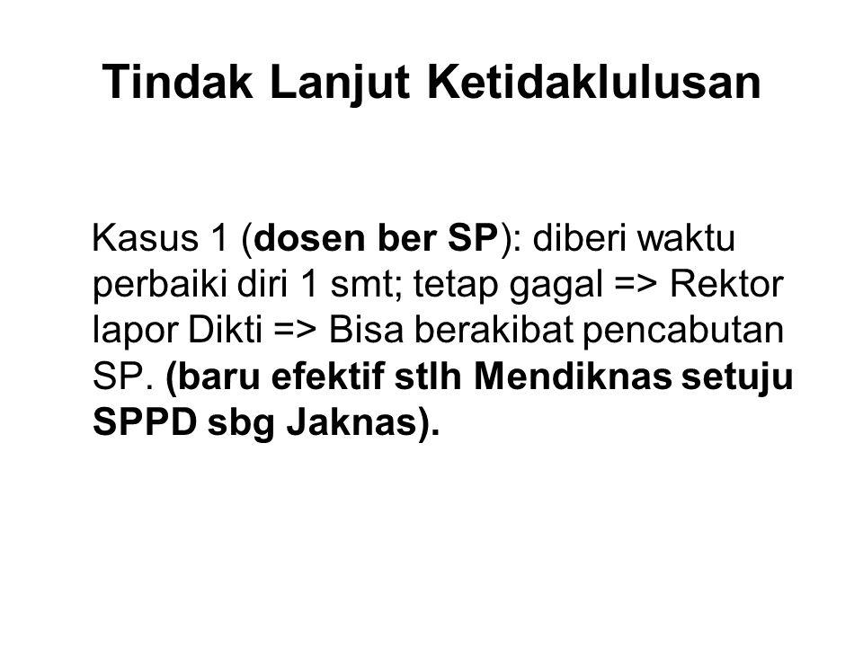 Tindak Lanjut Ketidaklulusan Kasus 1 (dosen ber SP): diberi waktu perbaiki diri 1 smt; tetap gagal => Rektor lapor Dikti => Bisa berakibat pencabutan SP.
