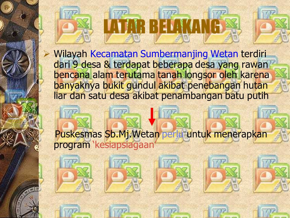 LATAR BELAKANG  Wilayah Kecamatan Sumbermanjing Wetan terdiri dari 9 desa & terdapat beberapa desa yang rawan bencana alam terutama tanah longsor ole