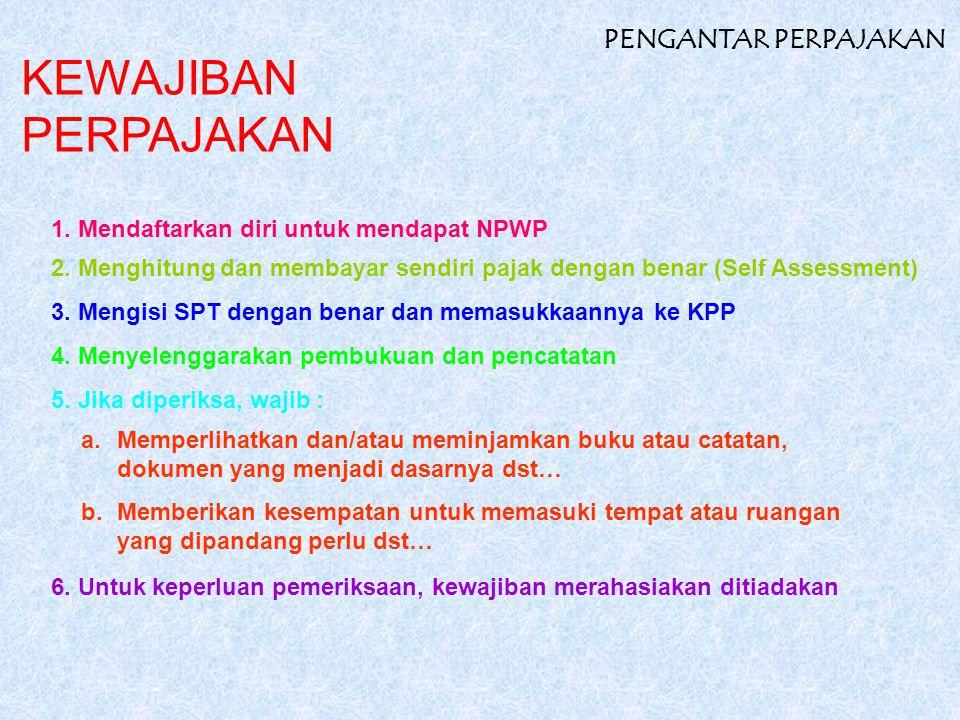 KEWAJIBAN PERPAJAKAN PENGANTAR PERPAJAKAN 1. Mendaftarkan diri untuk mendapat NPWP 2. Menghitung dan membayar sendiri pajak dengan benar (Self Assessm