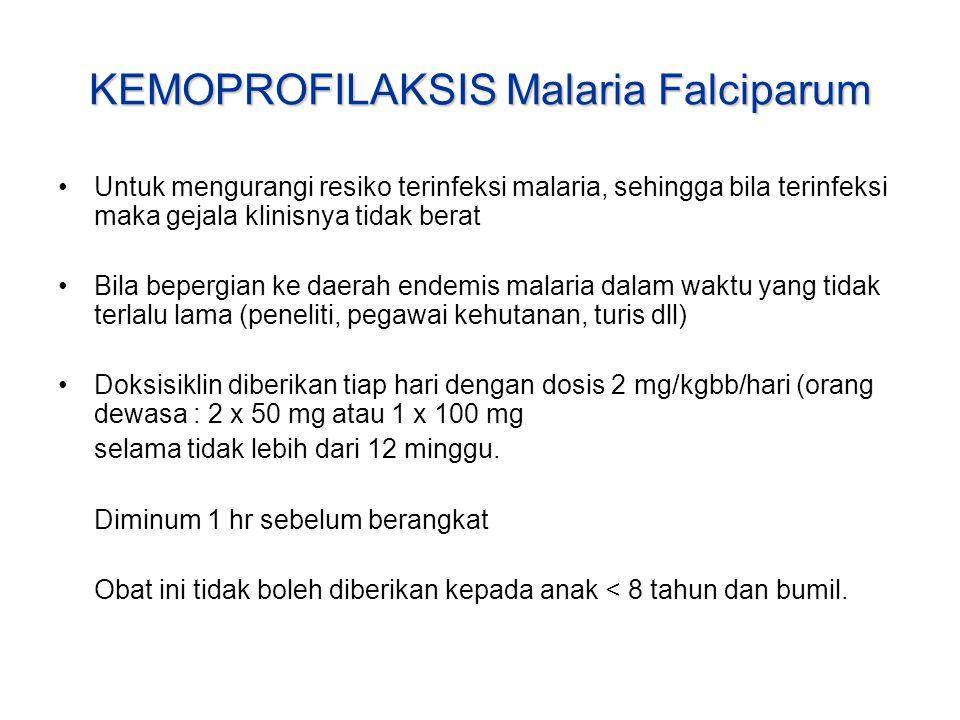 KEMOPROFILAKSIS Malaria Falciparum Untuk mengurangi resiko terinfeksi malaria, sehingga bila terinfeksi maka gejala klinisnya tidak berat Bila bepergi