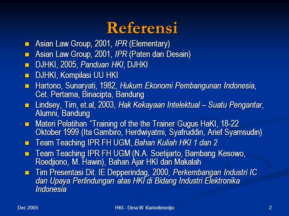 Dec 2005 43HKI - Dina W. Kariodimedjo Perlindungan Varietas Tanaman (PVT) 1/6