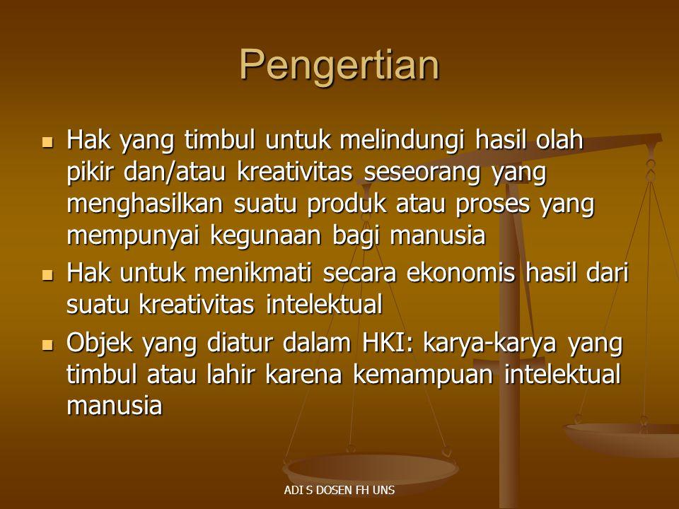 HC 4/16 Keaslian: Ps 1 ayat (3) Keaslian: Ps 1 ayat (3)  Tidak jiplakan/tiruan dari ciptaan lain  Pencipta telah menggunakan kemampuan pikiran, imajinasi, kecekatan, keterampilan, atau keahlian  Dituangkan ke dalam bentuk yang khas dan pribadi Hukum HC Indonesia berlaku: Hukum HC Indonesia berlaku:  Diciptakan oleh WNI  Pertama kali diumumkan di Indonesia Hak moral – Ps 6 Konvensi Bern, Ps 24 UUHC Hak moral – Ps 6 Konvensi Bern, Ps 24 UUHC Royalti Royalti ADI S DOSEN FH UNS