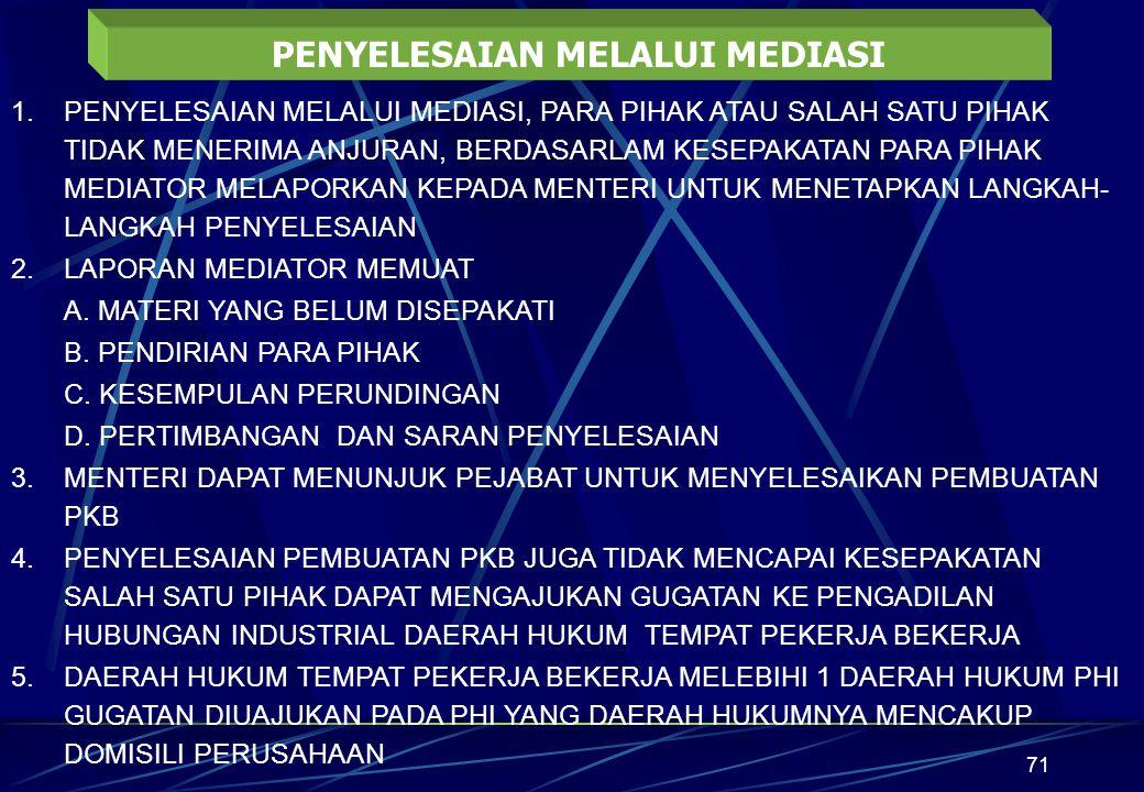 71 PENYELESAIAN MELALUI MEDIASI 1.PENYELESAIAN MELALUI MEDIASI, PARA PIHAK ATAU SALAH SATU PIHAK TIDAK MENERIMA ANJURAN, BERDASARLAM KESEPAKATAN PARA