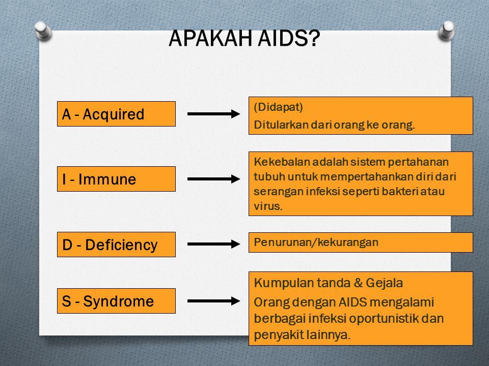 APAKAH AIDS? A - Acquired I - Immune D - Deficiency S - Syndrome (Didapat) Ditularkan dari orang ke orang. Kekebalan adalah sistem pertahanan tubuh un