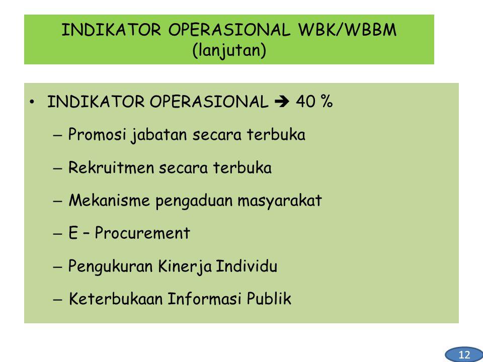INDIKATOR OPERASIONAL  40 % – Promosi jabatan secara terbuka – Rekruitmen secara terbuka – Mekanisme pengaduan masyarakat – E – Procurement – Penguku
