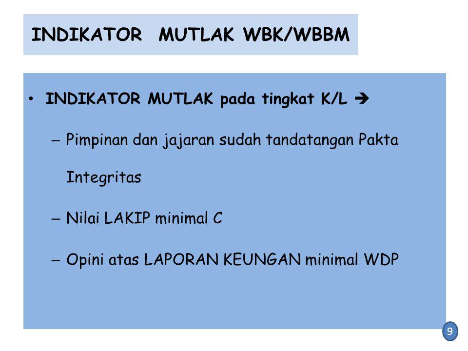 INDIKATOR MUTLAK WBK/WBBM INDIKATOR MUTLAK pada tingkat K/L  – Pimpinan dan jajaran sudah tandatangan Pakta Integritas – Nilai LAKIP minimal C – Opin
