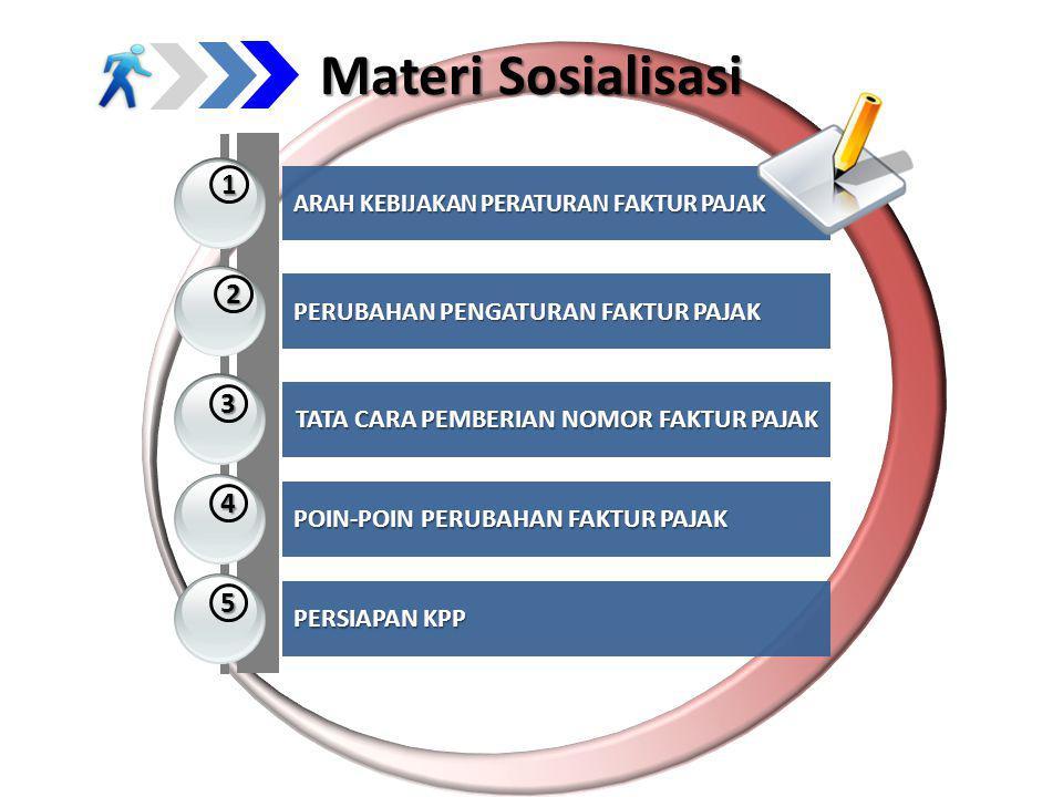 Materi Sosialisasi 1 2 3 4 5 ARAH KEBIJAKAN PERATURAN FAKTUR PAJAK PERUBAHAN PENGATURAN FAKTUR PAJAK TATA CARA PEMBERIAN NOMOR FAKTUR PAJAK POIN-POIN PERUBAHAN FAKTUR PAJAK PERSIAPAN KPP