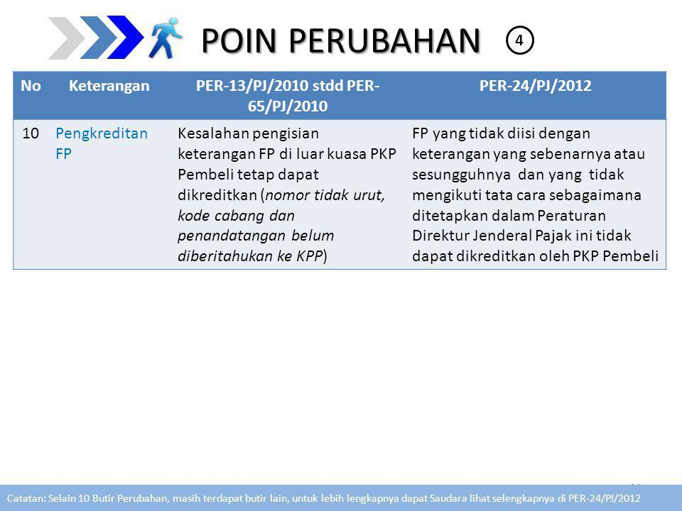 POIN PERUBAHAN NoKeteranganPER-13/PJ/2010 stdd PER- 65/PJ/2010 PER-24/PJ/2012 10Pengkreditan FP Kesalahan pengisian keterangan FP di luar kuasa PKP Pembeli tetap dapat dikreditkan (nomor tidak urut, kode cabang dan penandatangan belum diberitahukan ke KPP) FP yang tidak diisi dengan keterangan yang sebenarnya atau sesungguhnya dan yang tidak mengikuti tata cara sebagaimana ditetapkan dalam Peraturan Direktur Jenderal Pajak ini tidak dapat dikreditkan oleh PKP Pembeli 21 4 Catatan: Selain 10 Butir Perubahan, masih terdapat butir lain, untuk lebih lengkapnya dapat Saudara lihat selengkapnya di PER-24/PJ/2012