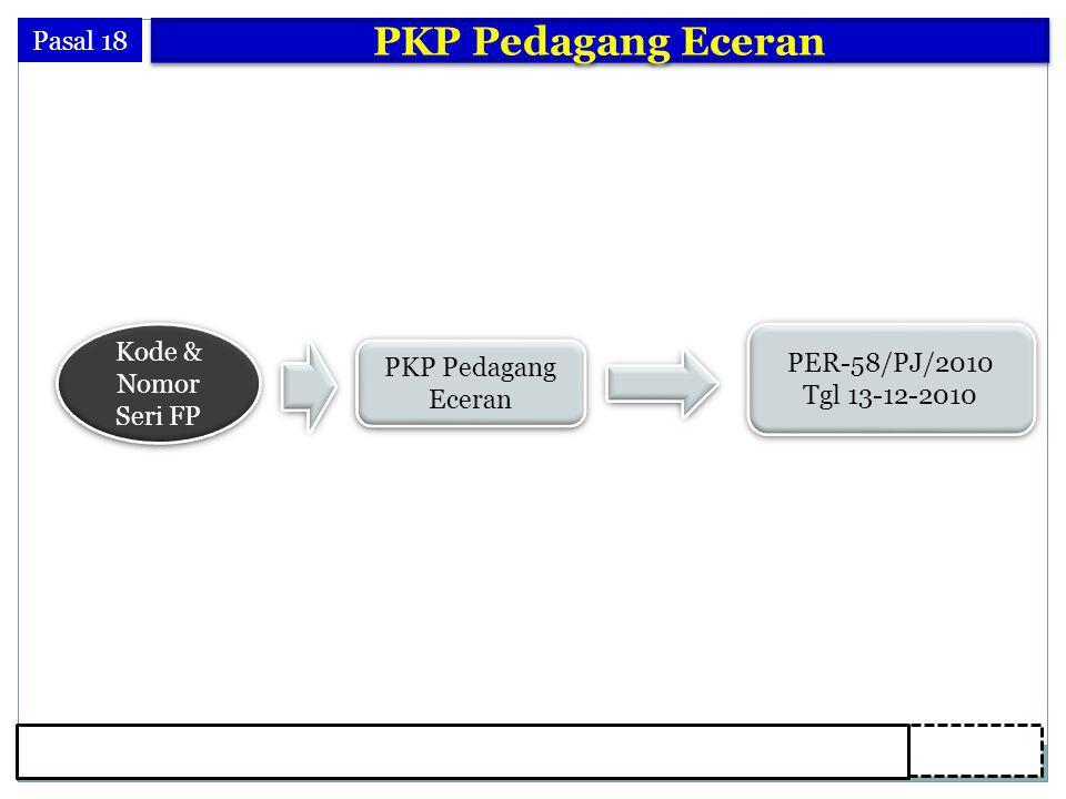 26 Pasal 18 PKP Pedagang Eceran Kode & Nomor Seri FP PKP Pedagang Eceran PKP Pedagang Eceran PER-58/PJ/2010 Tgl 13-12-2010 PER-58/PJ/2010 Tgl 13-12-2010